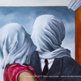 "n.636 The Lovers, 54x74cm, olio su tela, 2017 (Falso di autore di ""The Lovers"" di Rene Magritte, 1928"